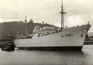Saída do navio Gil Eannes dos ENVC.