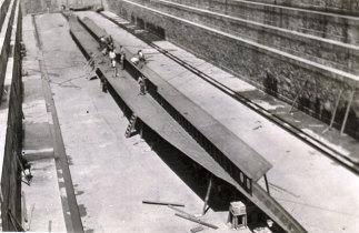 Assentamento da quilha do navio Gil Eannes na doca Nº1.