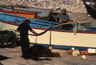 Preparação das artes de pesca